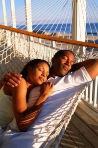 black couple relaxing